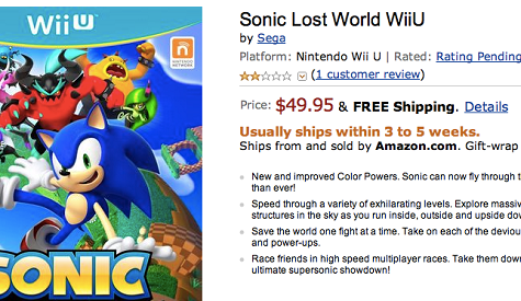 sonic lost world amazon